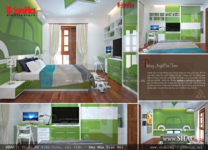 Mẫu thiết kế nội thất phòng ngủ con trai tiện nghi với màu sắc bắt mắt năng động