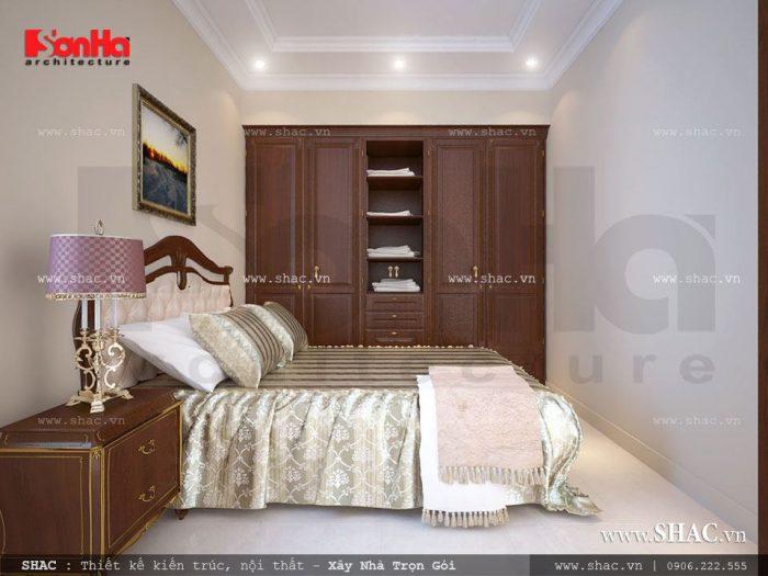 Thiết kế nội thất phòng ngủ đơn giản, bố trí nội thất phù hợp với diện tích hạn chế của căn phòng