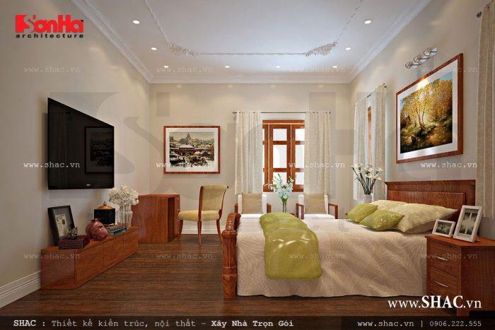 Thiết kế nội thất phòng ngủ chất liệu gỗ sang trọng