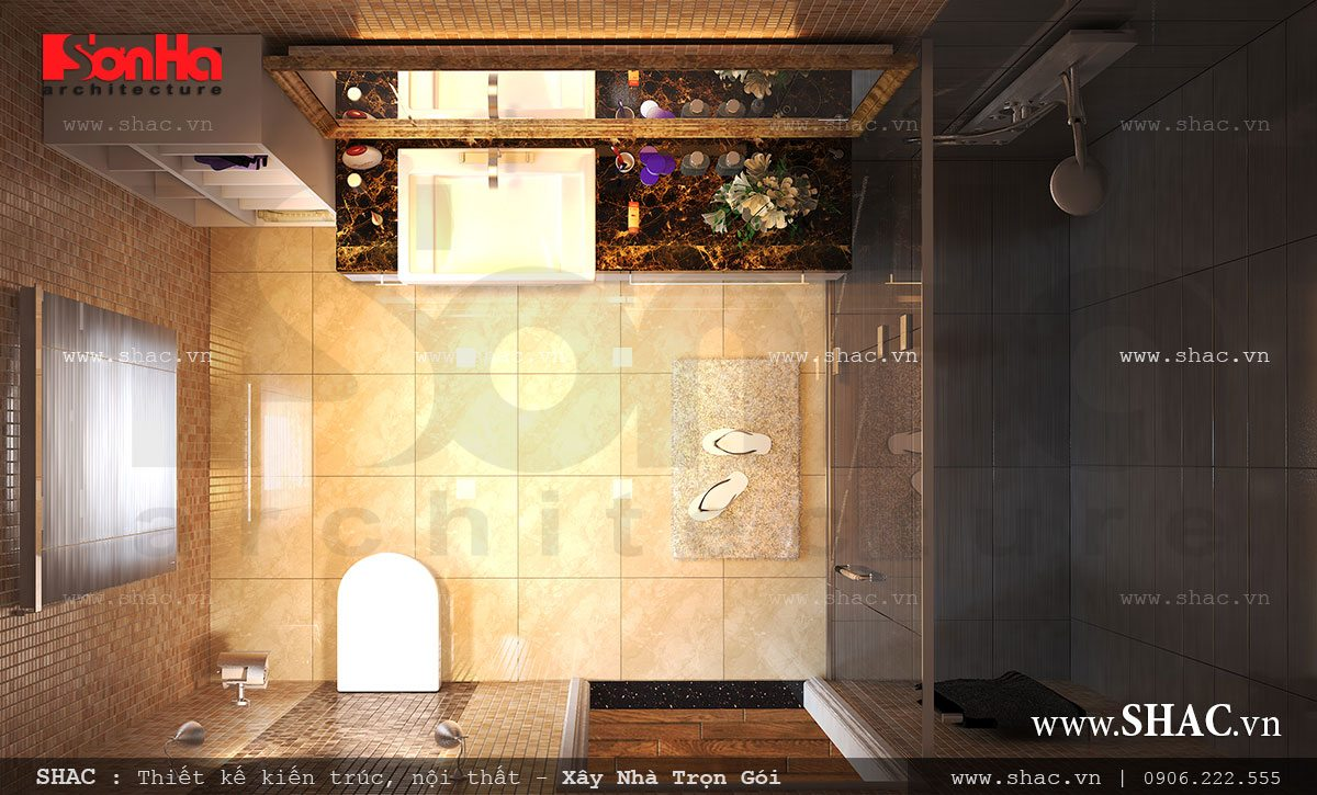 Kiến trúc biệt thự pháp 4 tầng trọn gói - BTLD 0003 12