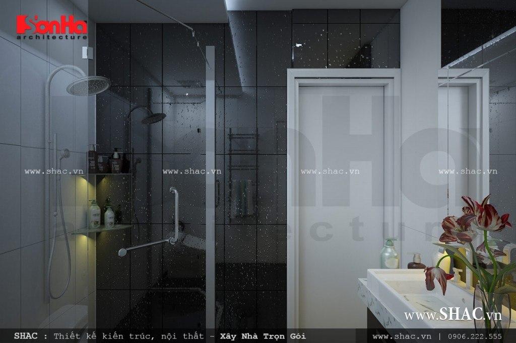 Phòng vệ sinh khép kín với nội thất hiện đại, thiết kế nội thất wc đẹp