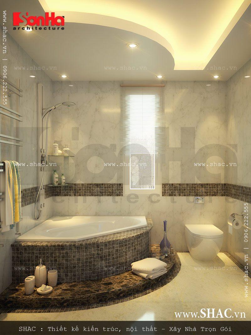 Phòng tắm wc có thiết kế nội thất đẹp của biệt thự hiện đại 3 tầng