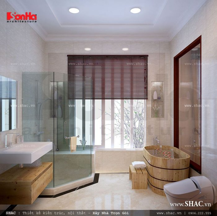 Mẫu thiết kế nội thất phòng tắm đẹp với vật liệu cao cấp