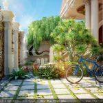 Sân vườn cổng biệt thự đẹp, tiểu cảnh ngoài trời biệt thự