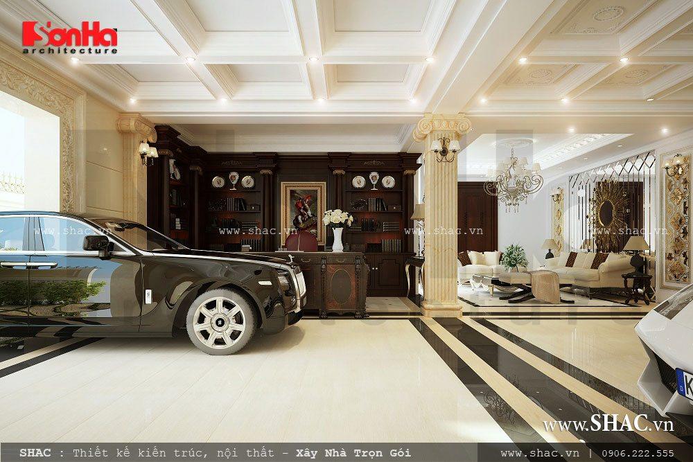 Tầng hầm biệt thự, bản thiết kế tầng hầm rộng cho biệt thự lâu đài, tầng hầm làm gara xe ô tô
