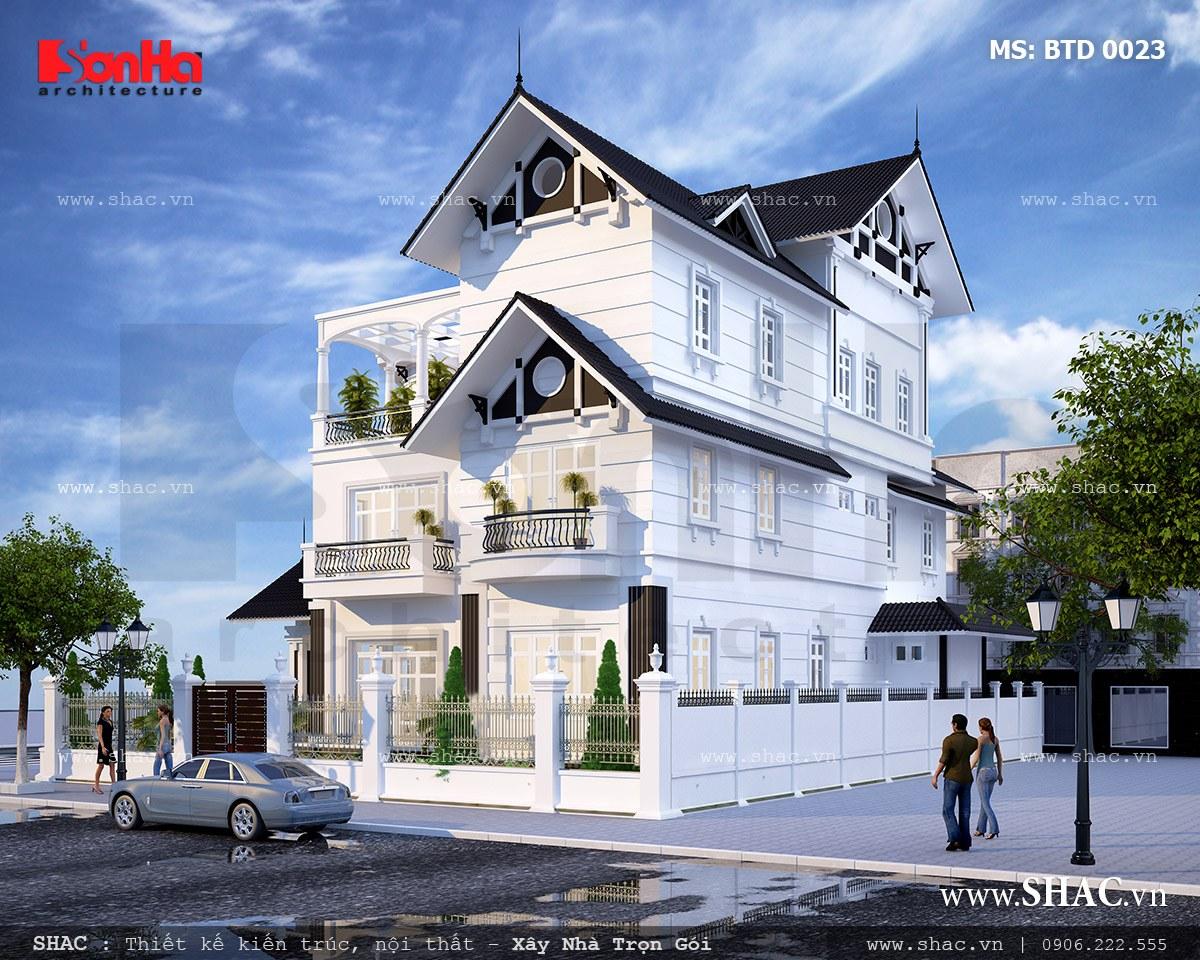 Phối cảnh kiến trúc biệt thự trắng 3 tầng