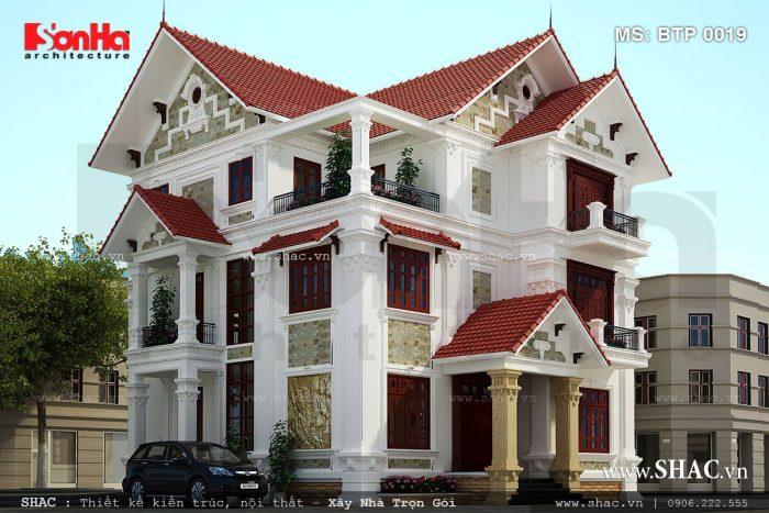 Mẫu thiết kế 3 tầng phong cách cổ điển tại Quảng Ninh ấn tượng với hệ mái ngói đỏ