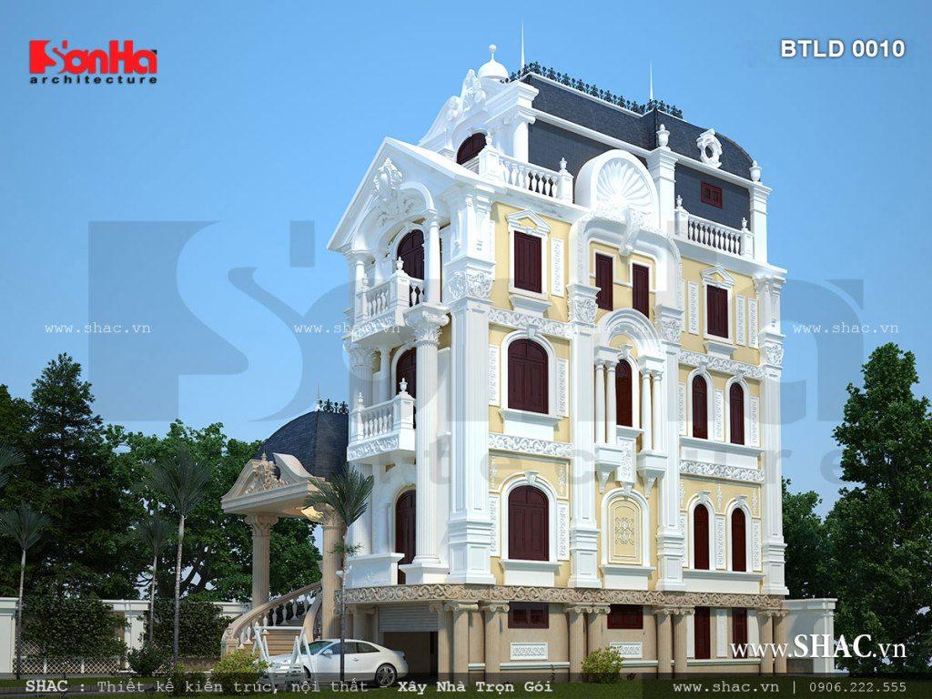 Thiết kế kiến trúc biệt thự lâu đài kiến trúc Pháp cổ điển sang trọng, biệt thự pháp 5 tầng, mẫu biệt thự đẹp kiểu pháp