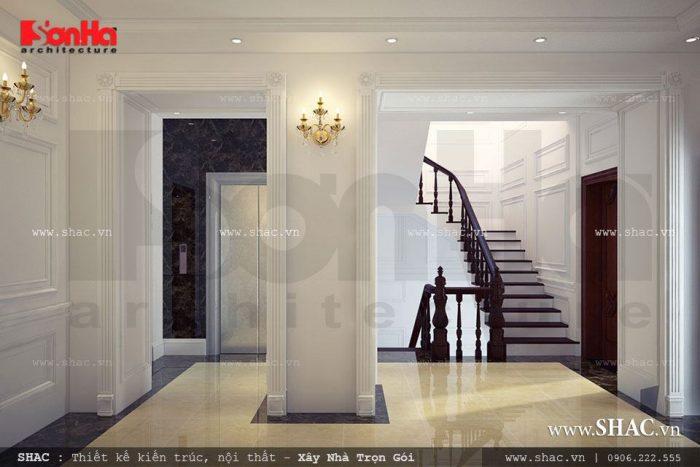 Thiết kế khu sảnh thang đẹp và thoáng