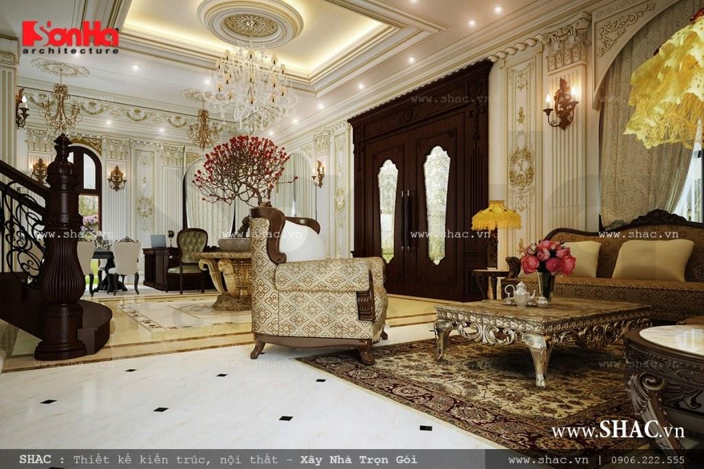 Thiết kế nội thất cổ điển cho phòng khách biệt thự Pháp