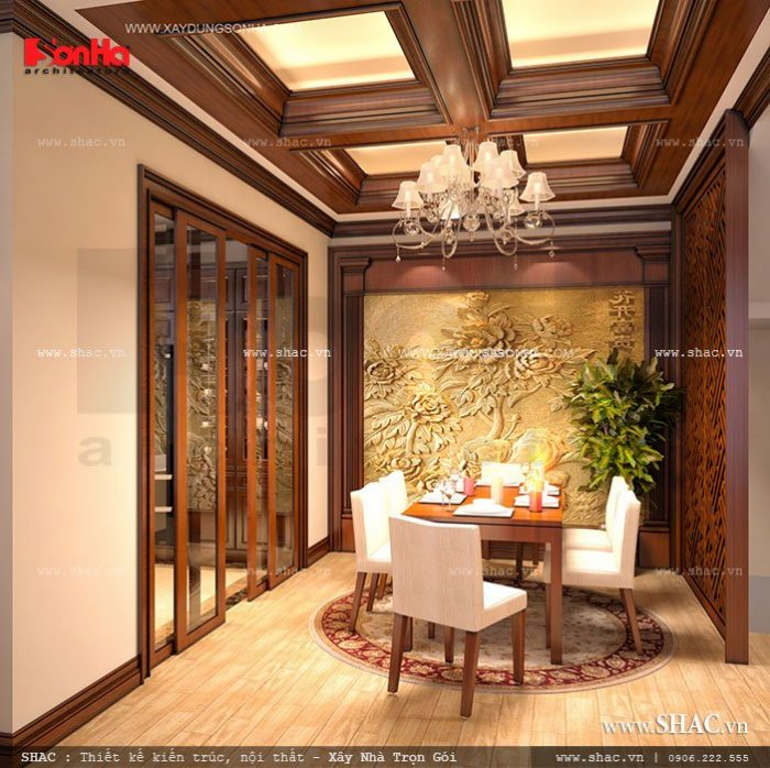 Mẫu thiết kế phòng ăn đẹp và ấm cúng rất được chủ đầu tư yêu thích bởi cách sắp xếp bố cục khá hợp lý