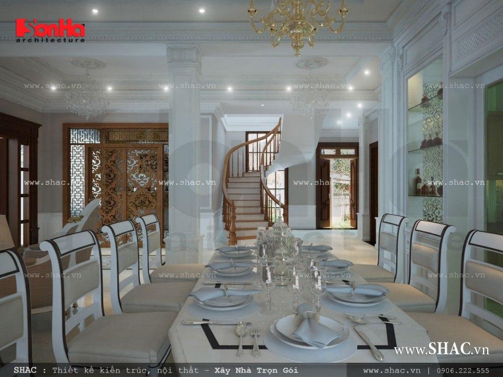 Thiết kế phòng ăn rộng cho biệt thự