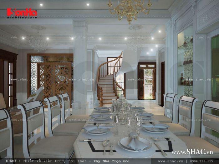 Thiết kế nội thất phòng ăn rộng của biệt thự kiểu Pháp hứa hẹn mang đến những đứa ăn cho gia đình chủ đầu tư