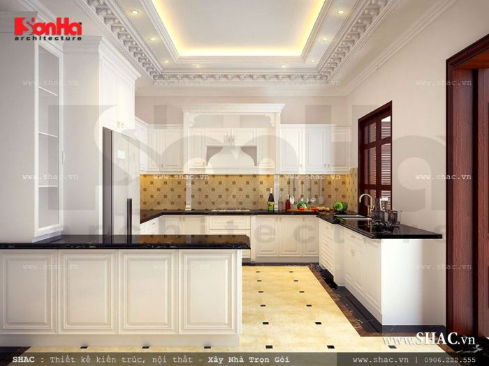Mẫu phòng bếp biệt thự cổ điển với thiết kế nội thất tủ bếp tiện nghi và sang trọng