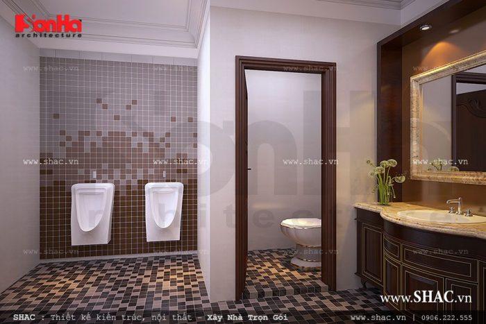 Thiết kế phòng WC chung cho biệt thự Pháp 4 tầng
