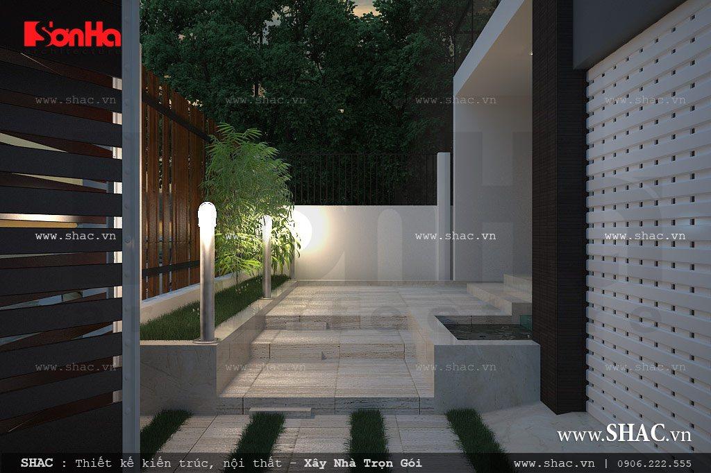 phối cảnh biệt thự, sân vườn và cổng biệt thự hiện đại