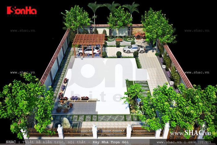 Thiết kế sân vườn biệt thự kiểu Pháp 3 tầng rộng và độc đáo