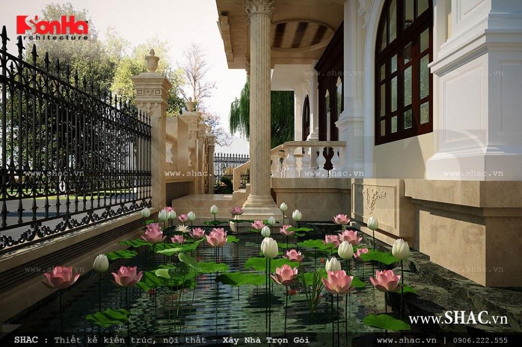 Thiết kế tiểu cảnh biệt thự Pháp đẹp