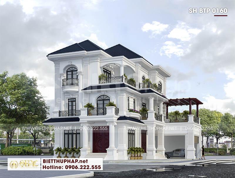 Mẫu thiết kế biệt thự tân cổ điển 3 tầng có thang máy tại Quảng Ninh