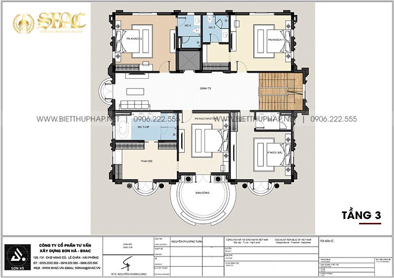 Chi tiết tầng 3 trong mẫu biệt thự tân cổ điển diện tích 263,76m2 tại Đà Nẵng