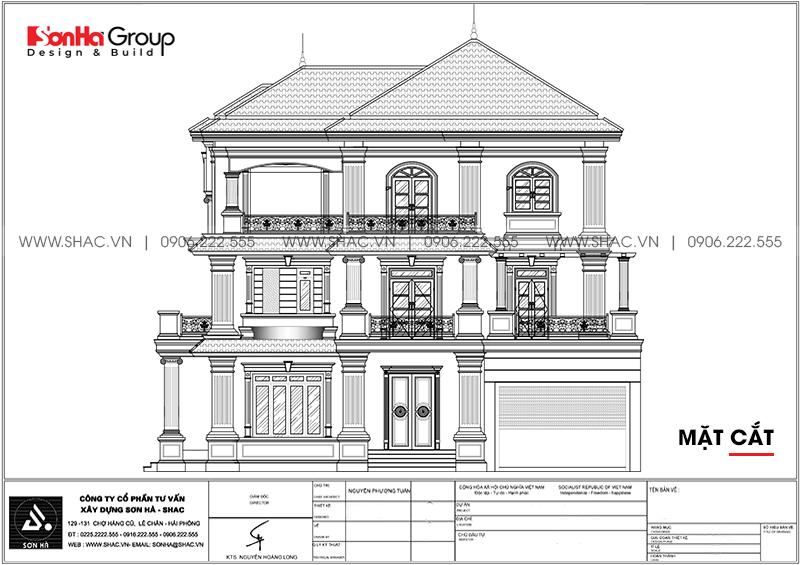 Thiết kế mặt cắt biệt thự tân cổ điển tại Quảng Ninh