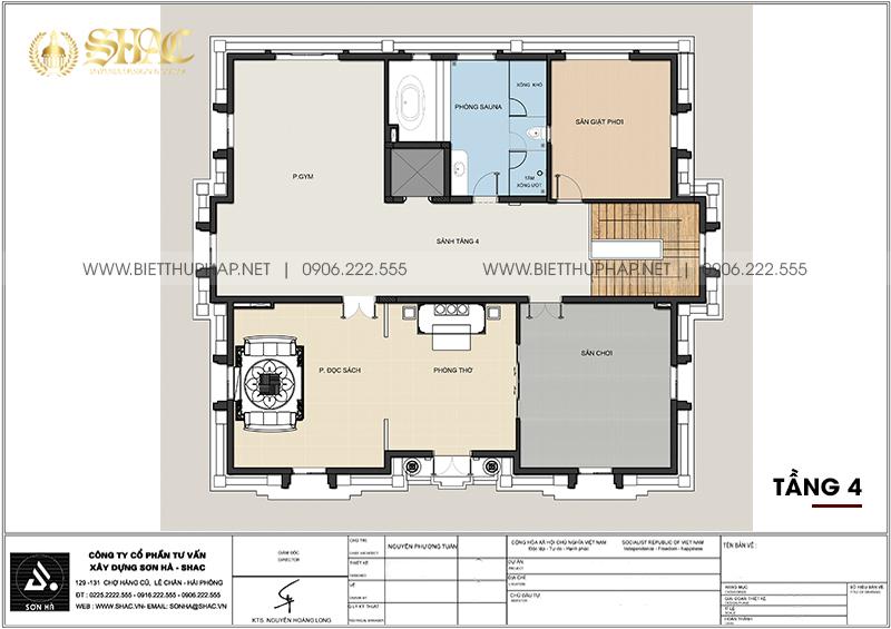 Thiết kế bản vẽ tầng 4 trong mẫu thiết kế biệt thự tân cổ điển sang tọng tại Đà Nẵng