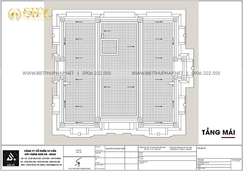 Mặt bằng tầng mái trong thiết kế biệt thự tân cổ điển 4 tầng tại Đà Nẵng.
