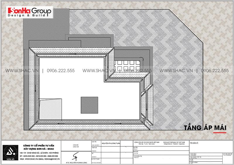 Bản vẽ tầng áp mái biệt thự tân cổ điển 3 tầng tại Quảng Ninh