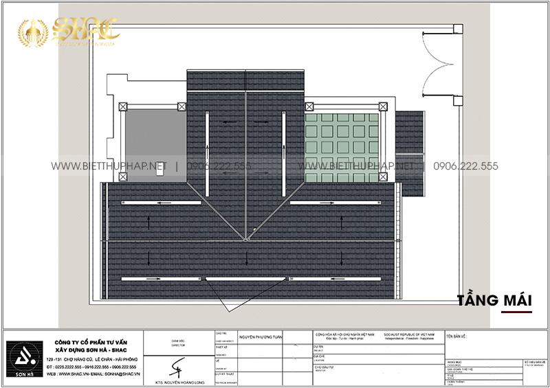 Bản vẽ tầng mái trong biệt thự tân cổ điển sang trọng 300m2