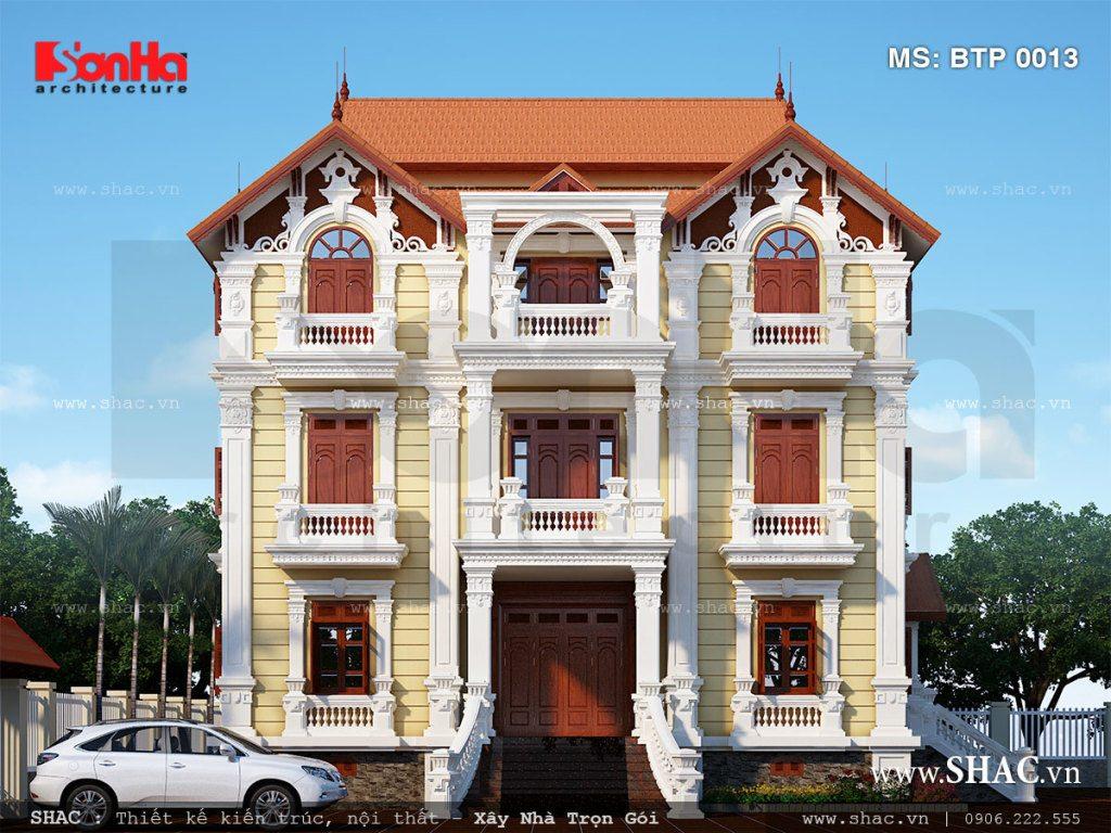 Mẫu biệt thự Pháp 4 tầng mái ngói đẹp