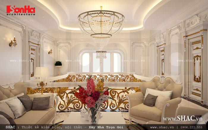 Không gian phòng khách có nội thất đẳng cấp tại tầng 2 của ngôi biệt thự