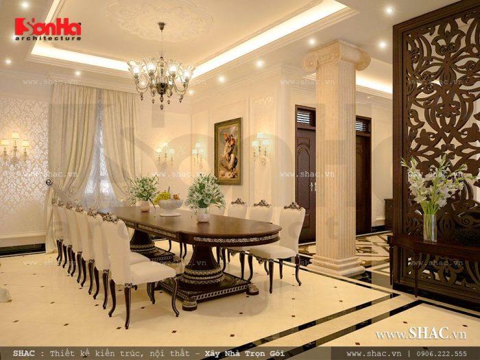 Mẫu phòng ăn với bàn ăn rộng được thiết kế nội thất Pháp đẹp