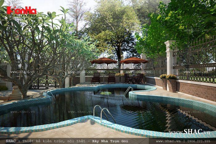 Khung cảnh bể bơi sân vườn của biệt thự Pháp đẹp