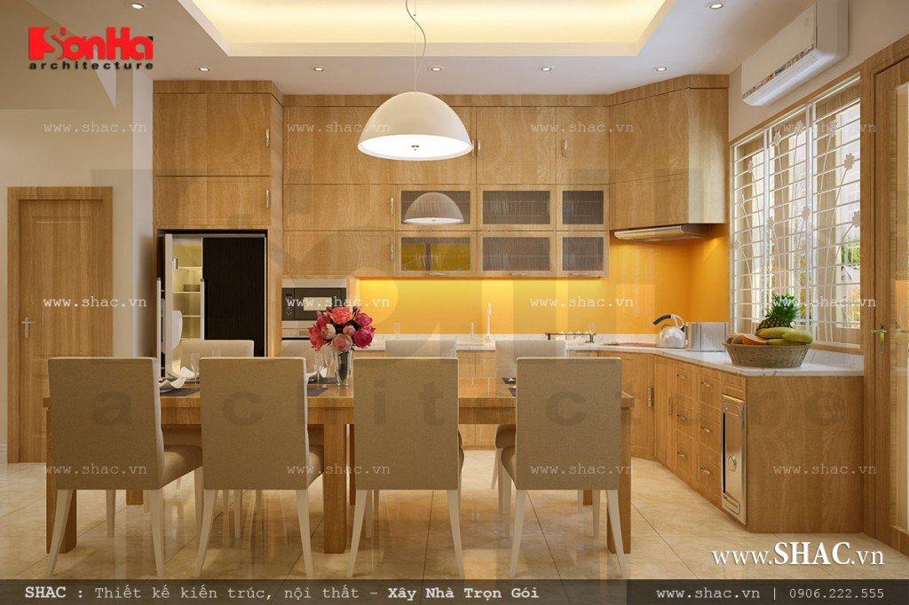 Thiết kế bếp ăn đẹp với nội thất gỗ