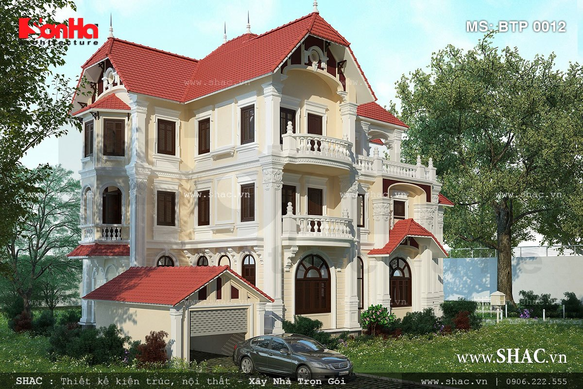 Biệt thự 3 tầng kiến trúc Pháp đẹp - BTP 0012 1
