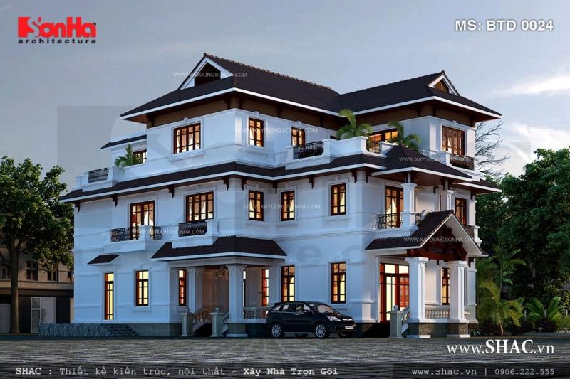 Thiết kế biệt thự kiểu hiện đại 3 tầng