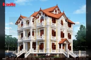 Biệt thự 4 tầng mái ngói kiến trúc Pháp cổ điển