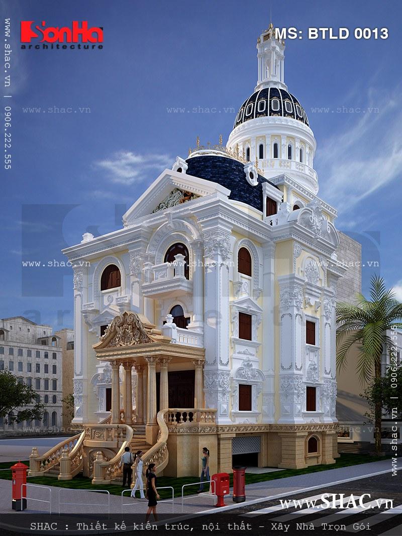 Cốt cánh sang trọng của biệt thự phong cách lâu đài cổ điển toát lên qua từng tiểu tiết thiết kế