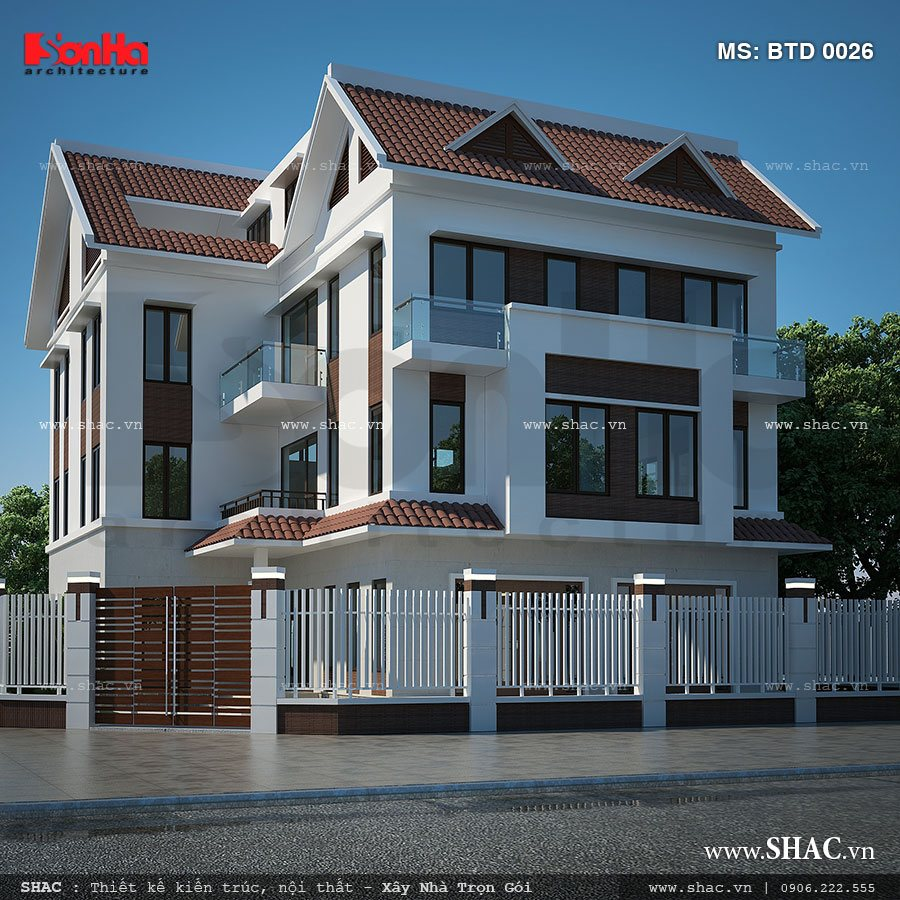Biệt thự 4 tầng kiến trúc hiện đại - BTD 0026 4
