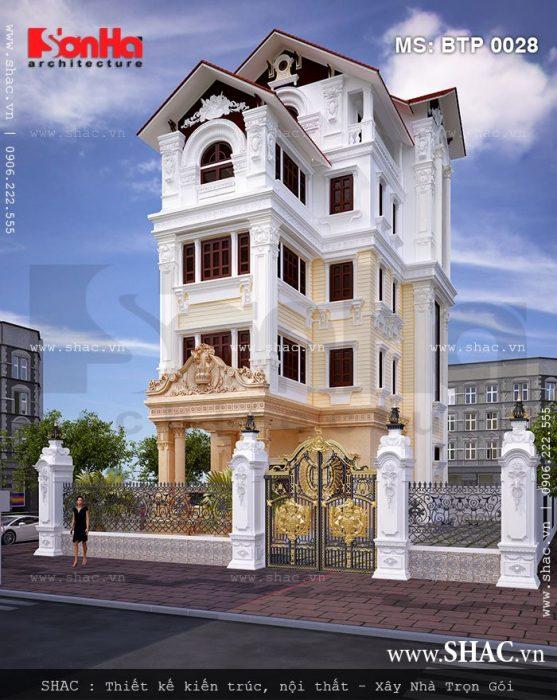 Kiến trúc mặt tiền đậm chất cổ điển của mẫu thiết kế biệt thự Pháp 5 tầng tại Hà Nội