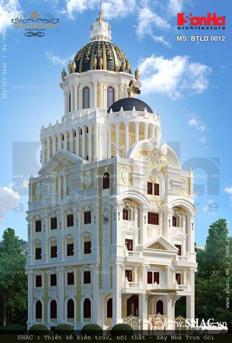 Thiết kế biệt thự lâu đài 6 tầng kiến trúc Pháp