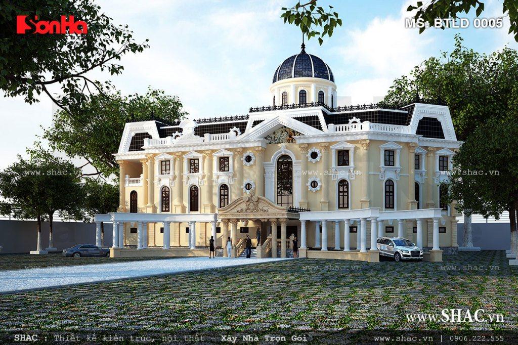 Biệt thự lâu đài 4 tầng kiến trúc Pháp cổ điển đẹp