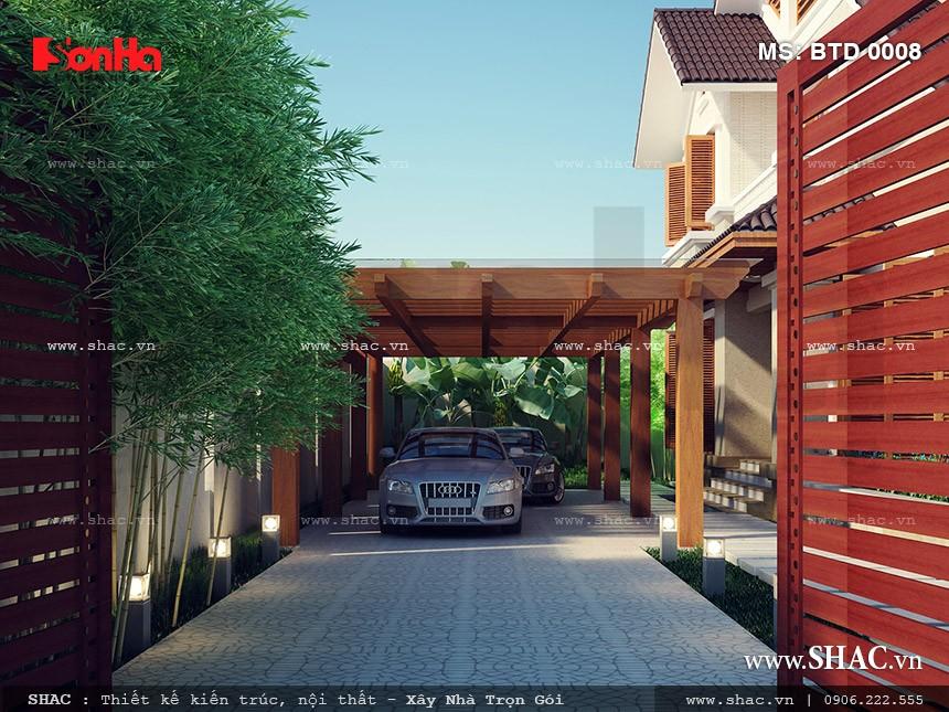 thiết kế gara để xe ngoài trời cho biệt thự