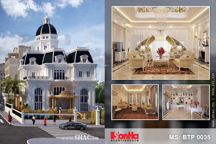Mẫu thiết kế biệt thự kiến trúc Pháp 3 tầng diện tích 375m2 sang trọng tại Khánh Hòa