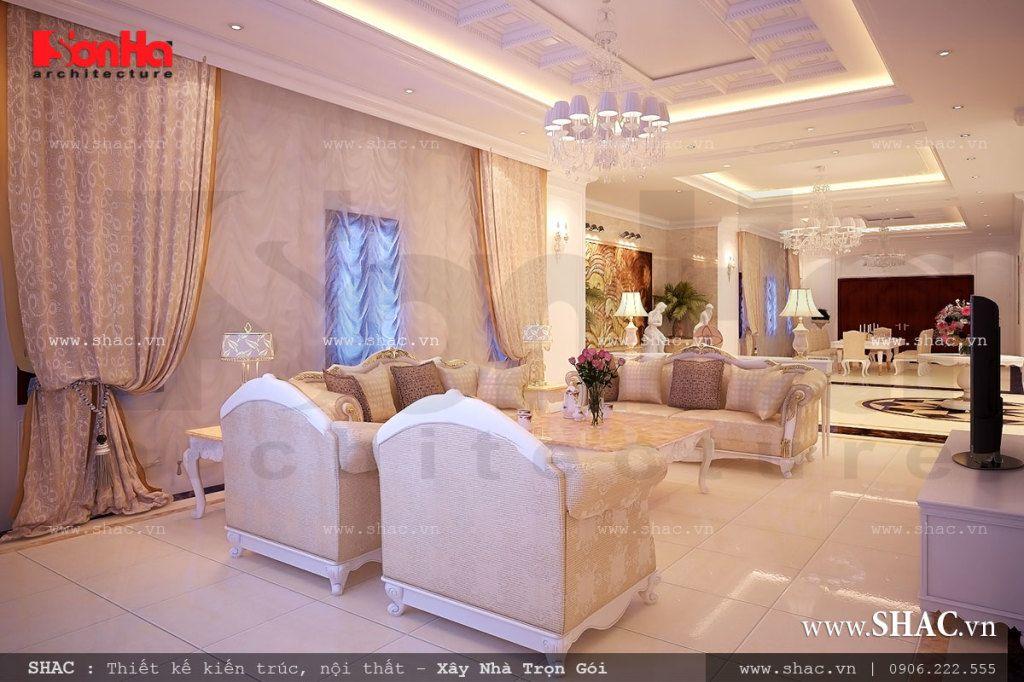 Nội thất phòng khách mang đậm chất Châu Âu quyền quý với màu sắc tranh nhã đẹp mắt