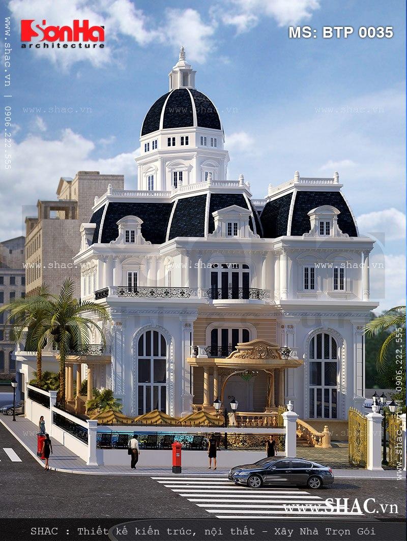 Kiến trúc mẫu biệt thự kiểu Pháp 3 tầng được thiết kế độc đáo sang trọng tại Khánh Hòa