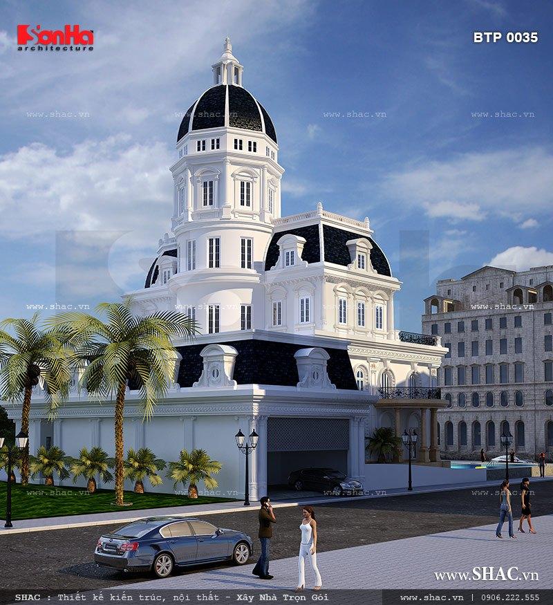 Ấn tượng của mẫu biệt thự cổ điển Pháp này là kiến trúc kiểu lâu đài sang trọng