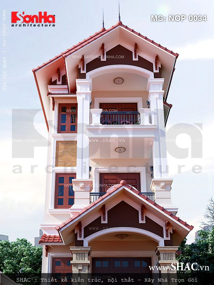 Kiến trúc ngoại thất nhà lô 3 tầng kiểu Pháp
