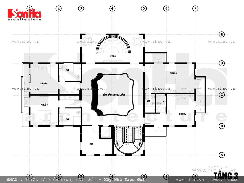 Mặt bằng biệt thự tầng 3