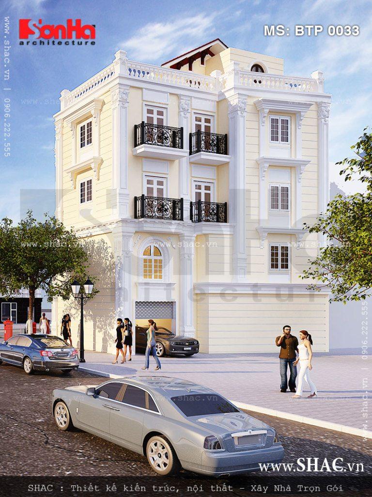 Thiết kế mặt sau cho biệt thự 4 tầng kiểu Pháp